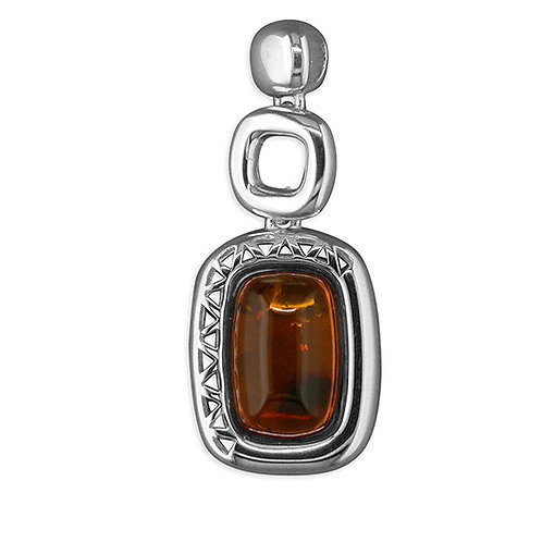 Cognac Amber fancy oblong Large Silver pendant