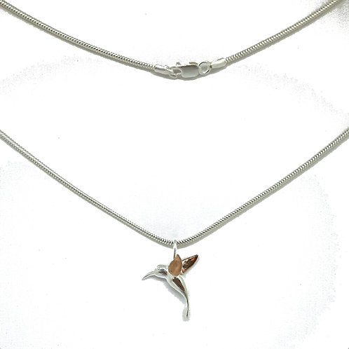 Silver and Rose Hummingbird Necklace