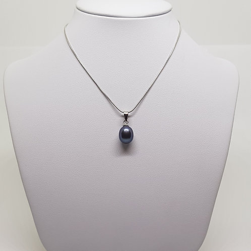 Freshwater Black Pearl Silver necklace