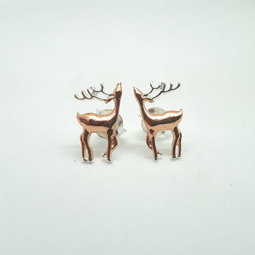 Silver and rose gold stag earrings