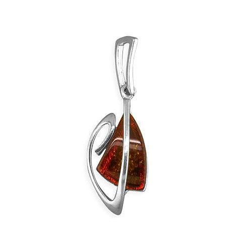 Fibonacci Silver Amber Necklace