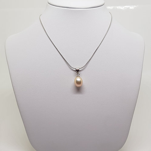 Freshwater Peach Pearl Silver necklace