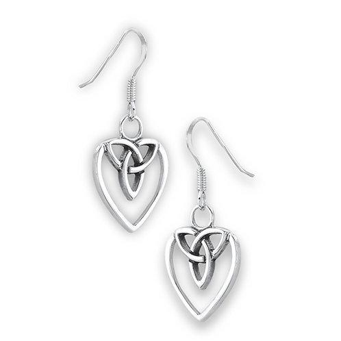 Sterling Silver Celtic Heart Triquetra Drop Earrings
