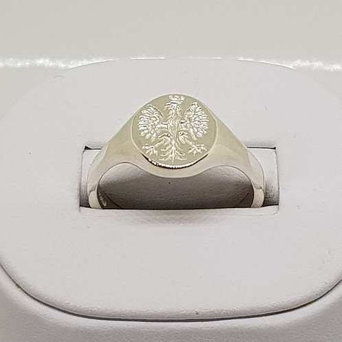 Mens Silver Signet Ring Polish Eagle Orzeł Biały