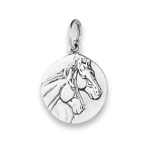 Sterling Silver Two Horses Pendant