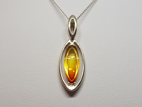 Silver Sunset Amber pendant Hawaiian collection