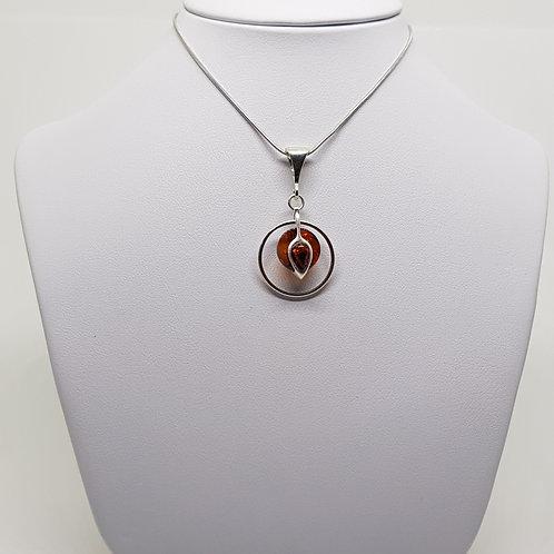 Silver Drop Amber Pendant
