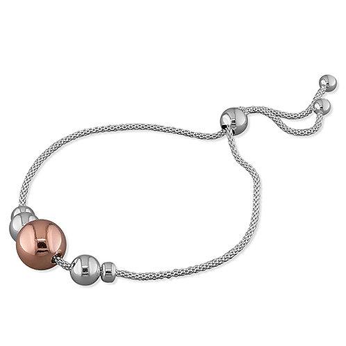 Sliding sphere bracelet silver and rose