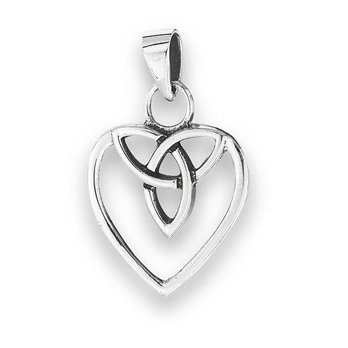 Sterling Silver Celtic Triquetra Heart Pendant