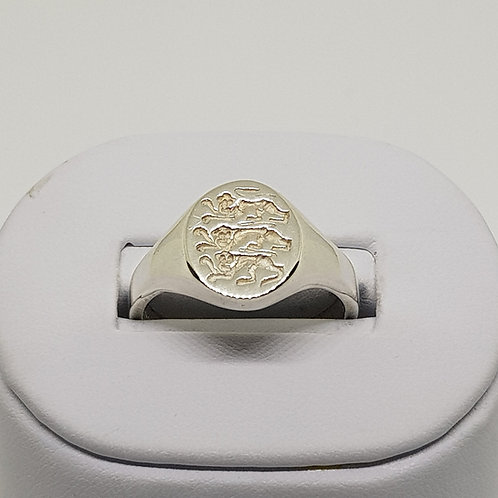 Heavyweight Mens Silver Signet Ring Three Lions England