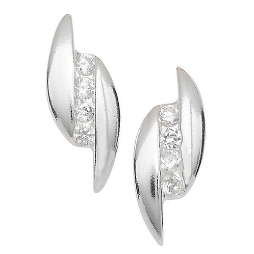 Eco-Friendly Silver CZ set Stud earrings
