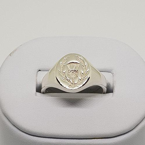 Heavyweight Mens Silver Signet Ring Thistle Scotland