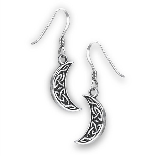 Sterling Silver Celtic Half Moon Drop Earrings