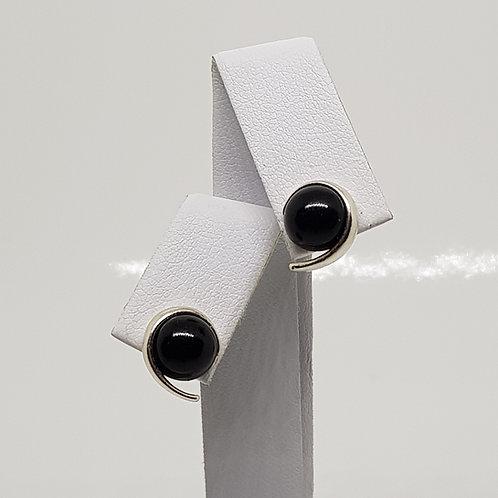 Spiral Silver Whitby Jet Stud Earrings