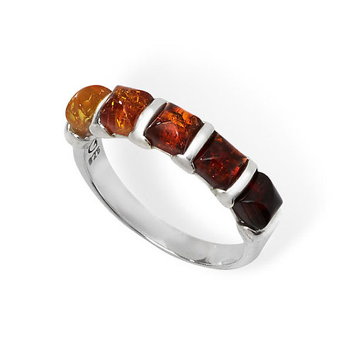 Eco friendly sterling silver 5 stone amber ring