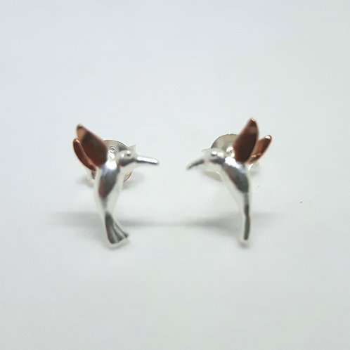 Silver and rose gold hummingbird earrings