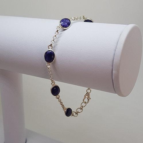 Sapphire coloured blue quartz silver bracelet