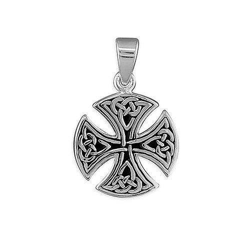 Small silver round Celtic cross