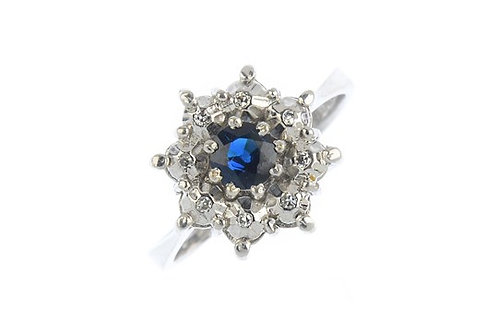 Vintage 1970's sapphire and diamond cluster ring
