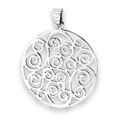 Sterling Silver Swirl Filigree Pendant