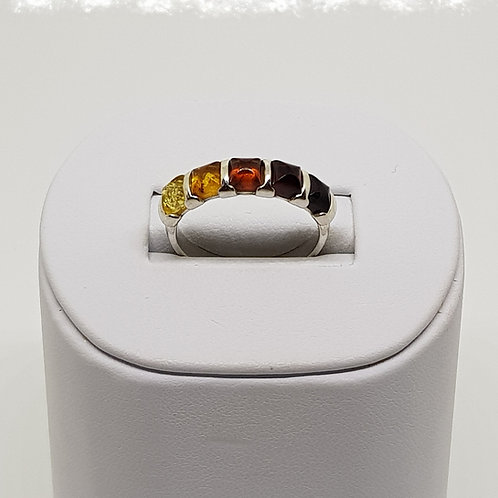 Sterling silver 5 stone amber ring