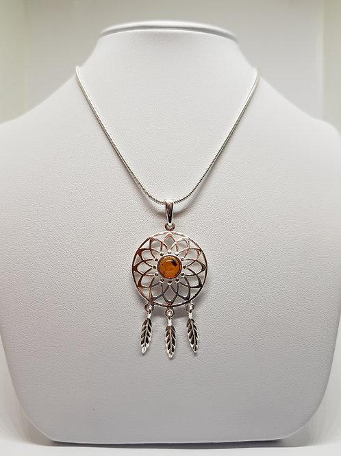 Ojibwe Silver Dreamcatcher Large Pendant