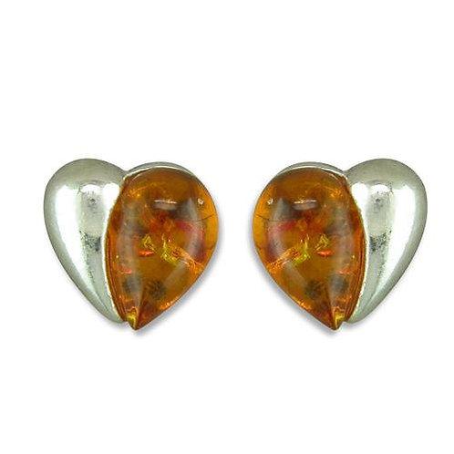 Amber Silver Heart Stud Earrings