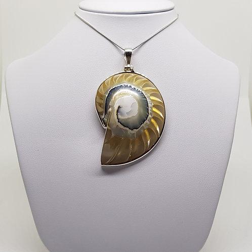 Golden Nautilus Silver Sea Shell pendant