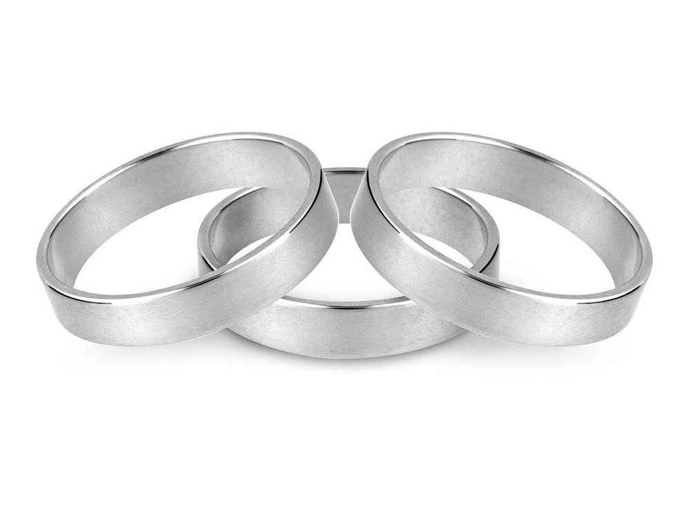 Flat silver wedding band