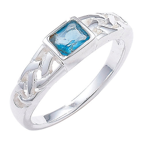 Silver Blue Topaz Celtic Ring