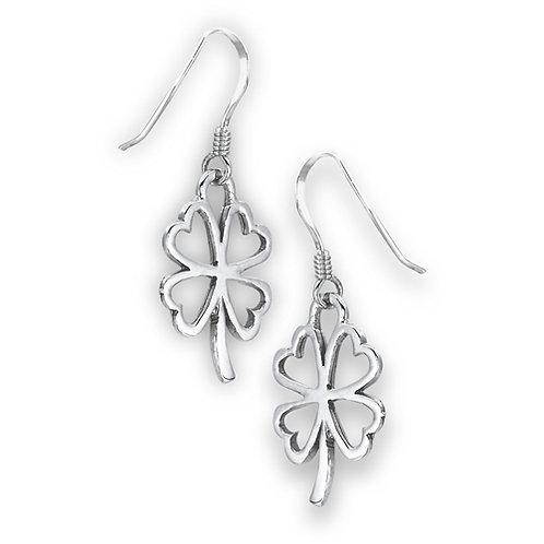 Sterling Silver Four-Leaf Clover Drop Earrings