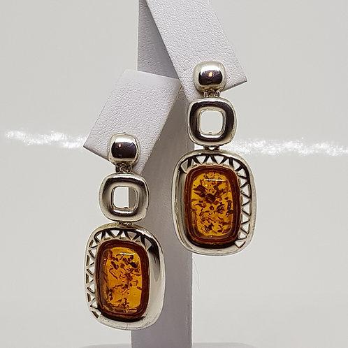 Large Drop Amber Silver Earrings