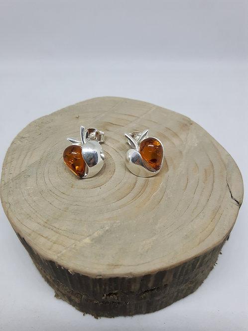 Amber apple heart silver earrings