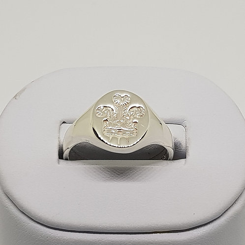 Heavyweight Mens Silver Signet Ring Three Feathers Wales