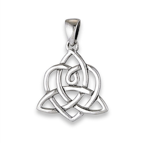 Silver Interwoven Heart and Triquetra Pendant