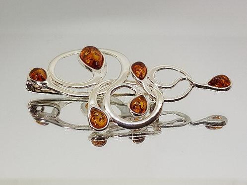 Art Nouveau inspired amber brooch