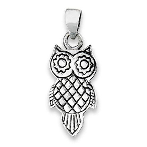 Reversible Sterling Silver Owl Pendant