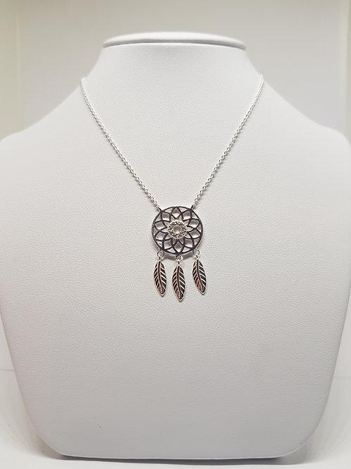 Ojibwe Silver Dreamcatcher CZ pendant