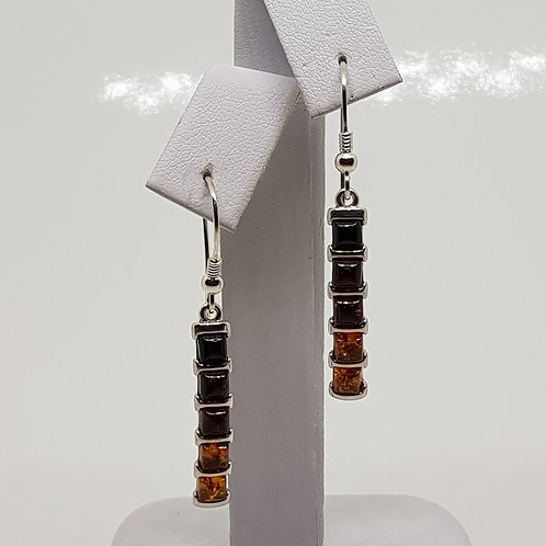 Sterling Silver 5 stone Natural Amber earrings
