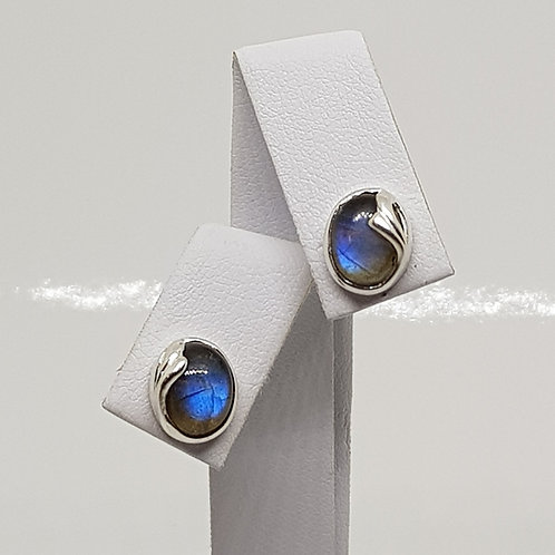 Oval silver Labradorite earrings