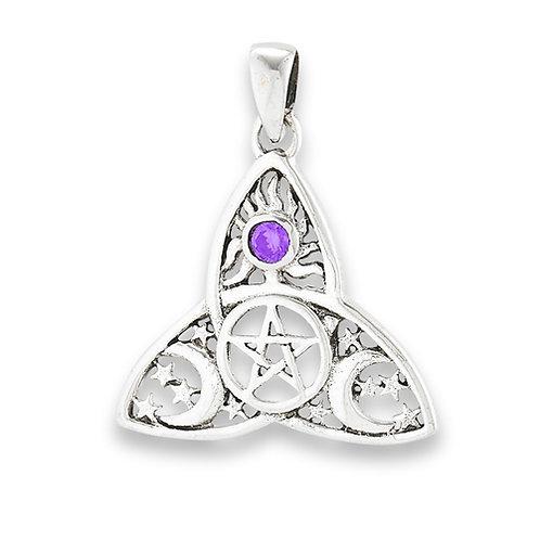 Silver Celestial Pentagram Triquetra Pendant