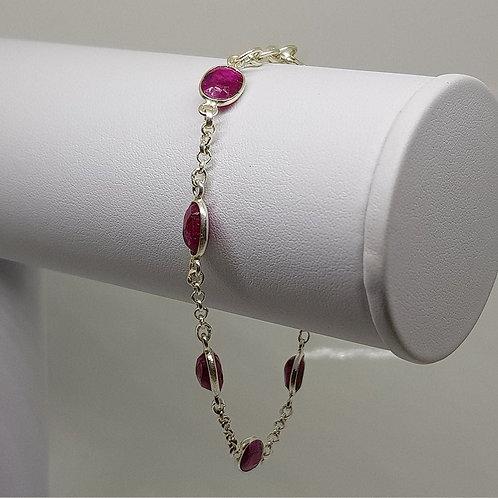 Ruby coloured red quartz silver bracelet