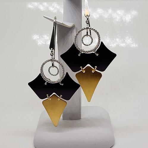 Large Purple enamel Silver Drop earrings