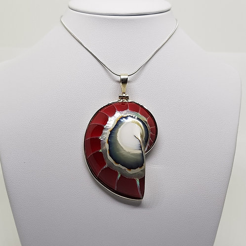 Red Nautilus Silver Sea Shell Pendant