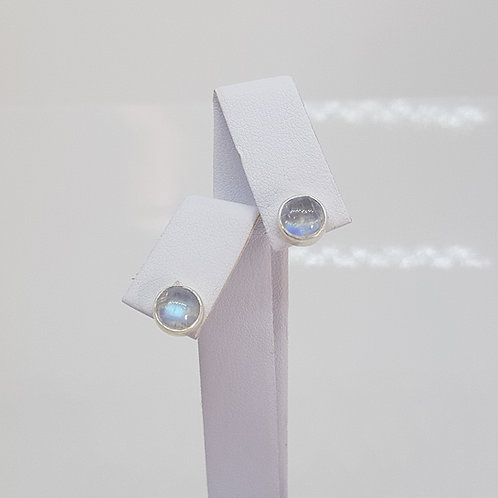 Silver rainbow moonstone earrings