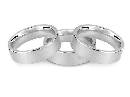 Eco Wedding ring, Silver Heavy Weight Comfort Fit Wedding Ring 4mm