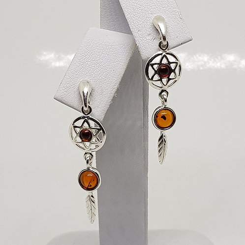 Silver Dreamcatcher Earrings with Amber