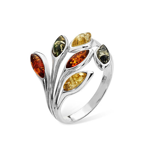 Three colour amber leaf elven ring
