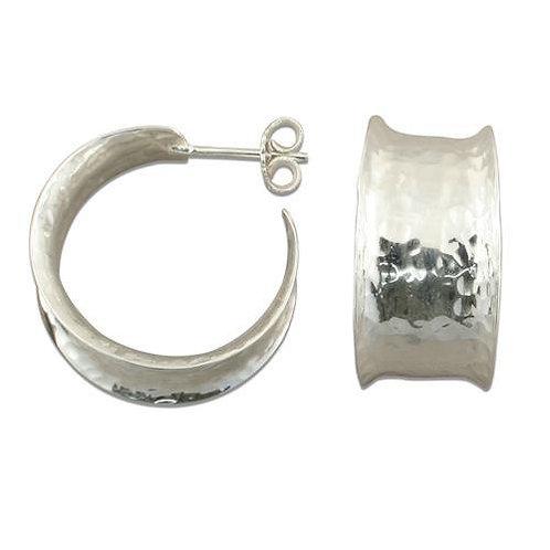 Sterling silver earrings Hammered finish hoop