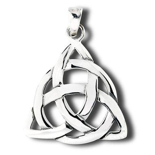 Large silver triquetra necklace
